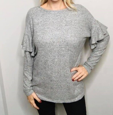Grey Flutter Sleeve Sweater