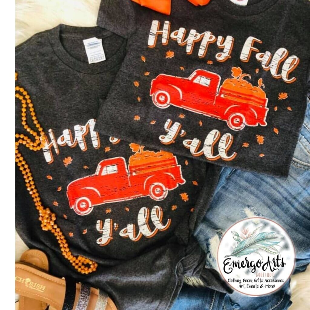 Mommy & Me Fall Red Truck Tees
