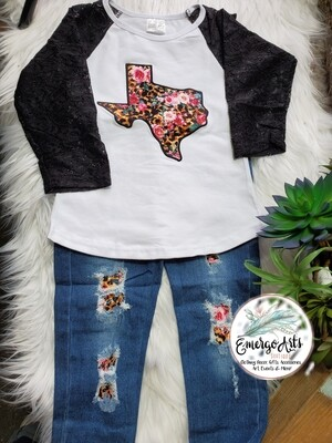 LIL' TEXAS TORNADO 2PC JEANS SET
