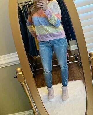 Samantha Pink Mesh Sweater