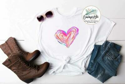Watercolor Heart Tee
