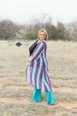 CRAZY TRAIN PURPLE AND TURQUOISE DUSTER