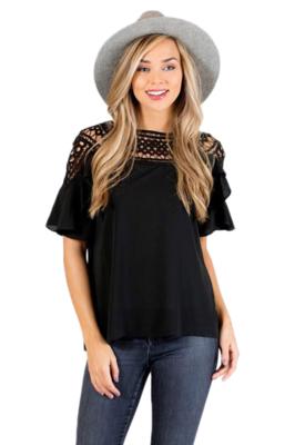 Black Lace Crochet Top