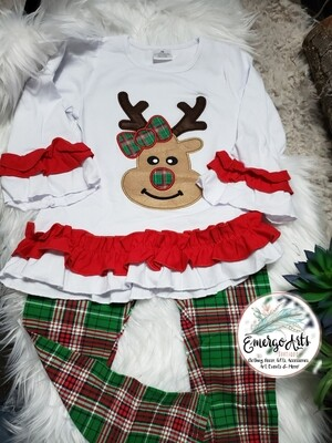 GREEN PLAID REINDEER 2PC SET