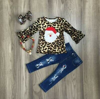 LEOPARD SANTA 2PC JEANS SET
