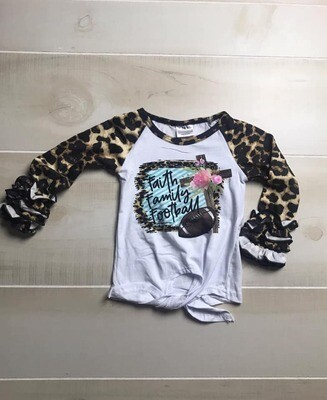 FAMILY, FAITH, FOOTBALL LEOPARD RUFFLE RAGLAN