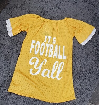 FOOTBALL YA'LL MUSTARD JERSEY DRESS