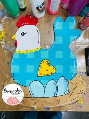 Mama Chicken Door Hanger - Painted