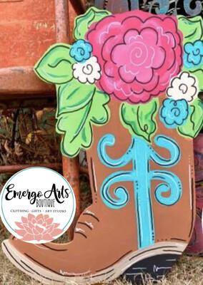 Floral Boot Door Hanger - Painted