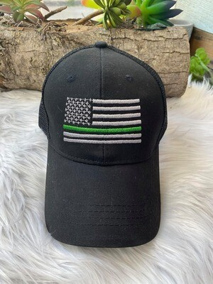 Thin Green Line Pony Tail Hat