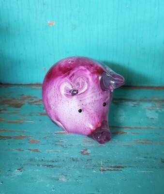 GLASS PINK PIG