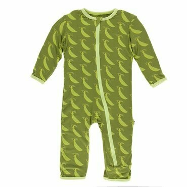 Kickee Pants Print Coverall with Zipper in Grasshopper Sweet Peas