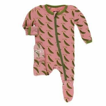 Kickee Pants Print Footie with Zipper in Strawberry Sweet Peas