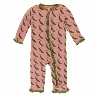 Kickee Pants Print Classic Ruffle Coverall with Zipper in Strawberry Sweet Peas