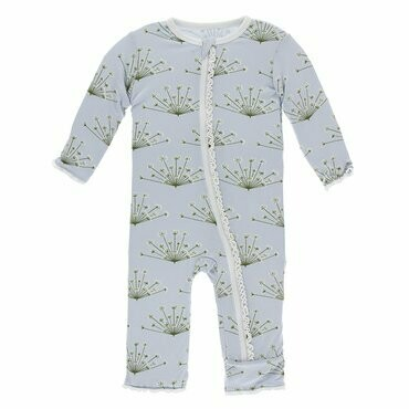 Kickee Pants Print Muffin Ruffle Coverall with Zipper in Dew Dill