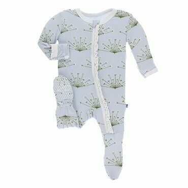 Kickee Pants Print Muffin Ruffle Footie with Zipper in Dew Dill