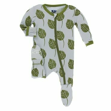 Kickee Pants Print Footie with Zipper in Dew Philodendron