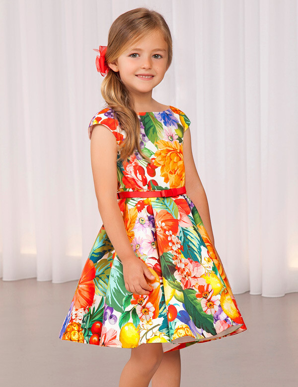 Abel & Lula Satin Printed Dress