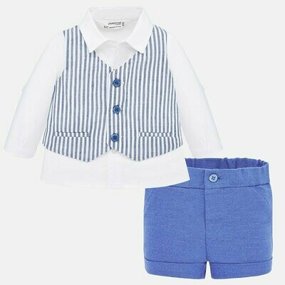 Mayoral Blue Striped Vest Set