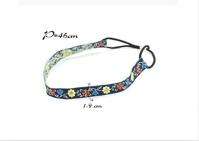 Cotton flower-embroidered headband