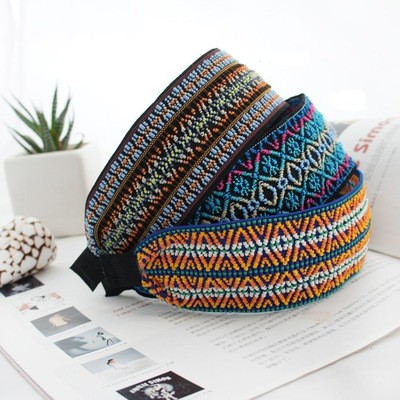 Bohemian colour thread wide headband