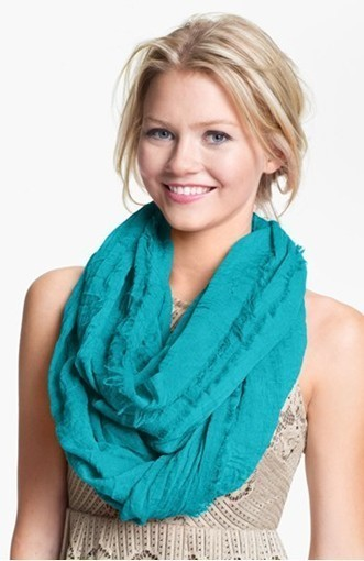 Fringe cotton solid infinity scarf