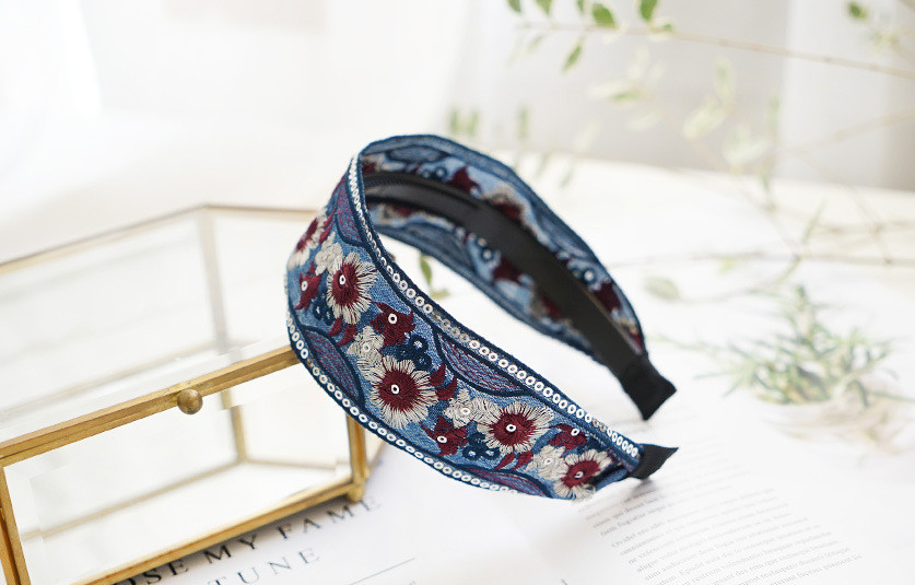 Stitched floral organza headband
