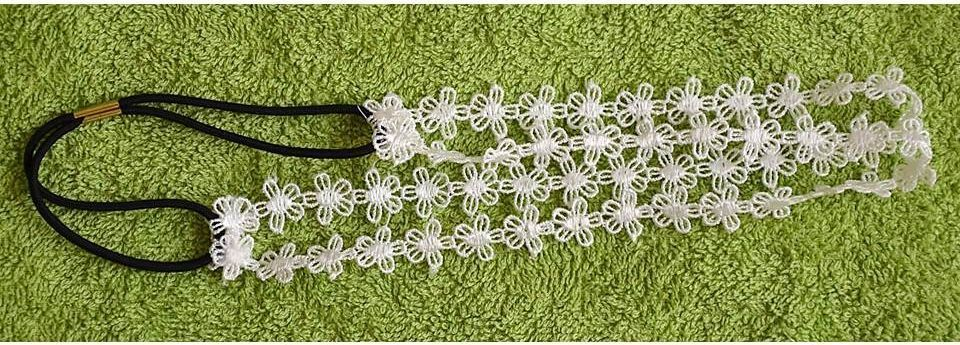 Lace double-wrap flower headband