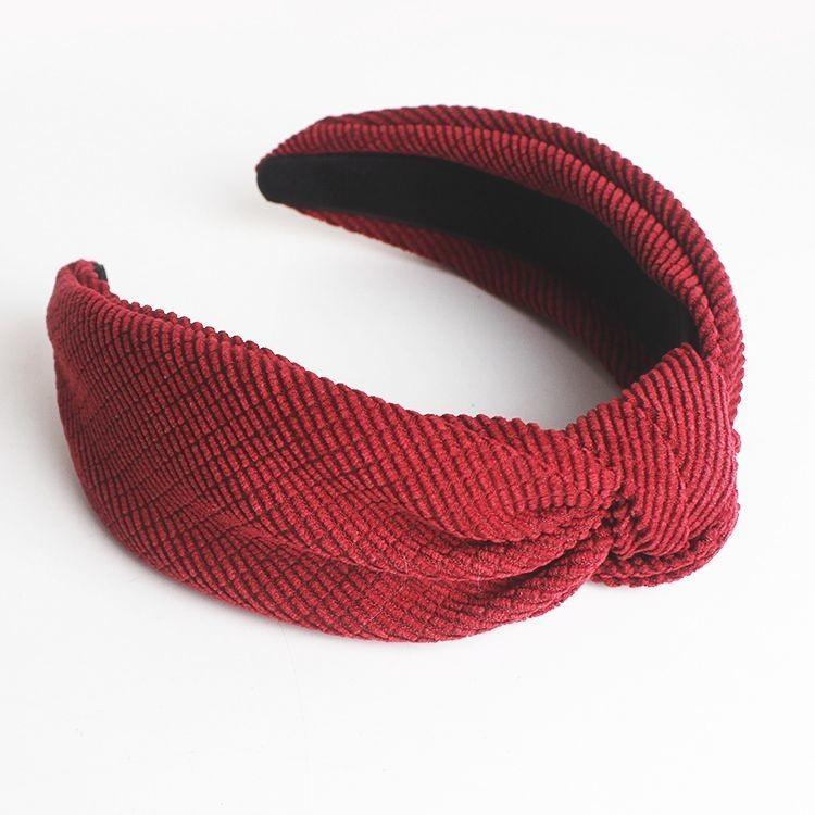 Striped velvet knot headband