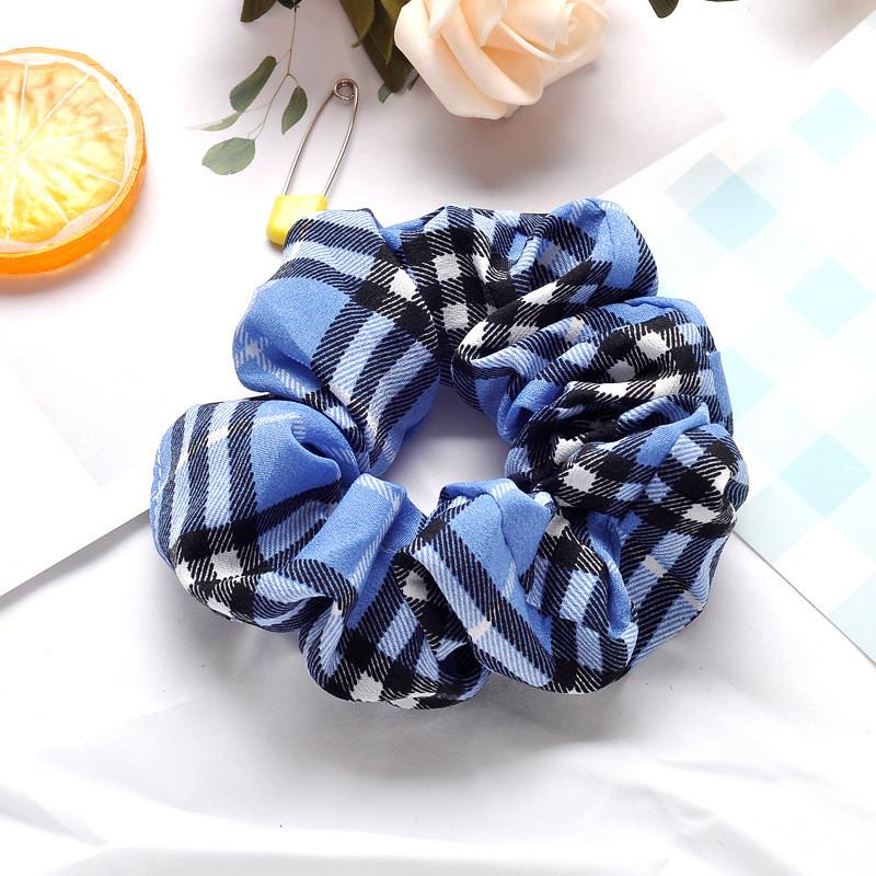 Mixed plaids chiffon scrunchies
