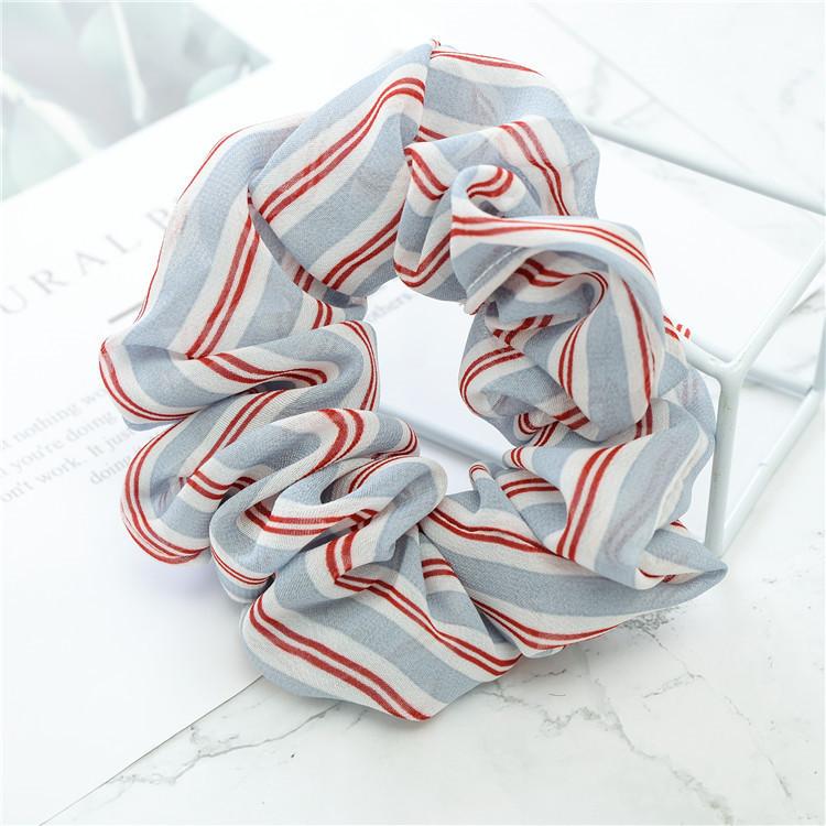 Mixed strips sheer chiffon scrunchies