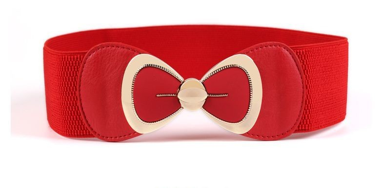 Gold bow stretch belt