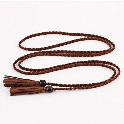 Wooden bead tassel belt tie