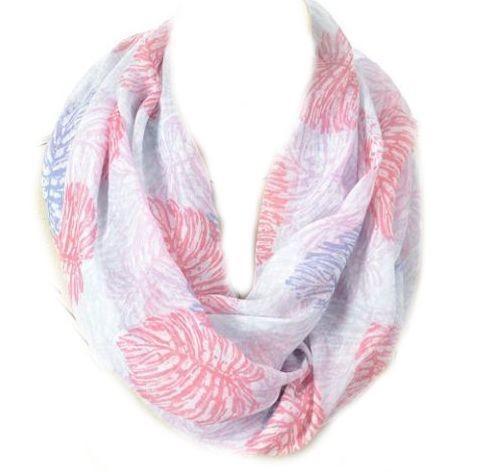 Pink leaves print infinity scarf