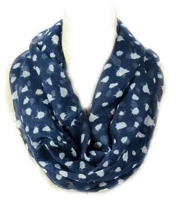 Dark blue white dots print infinity scarf