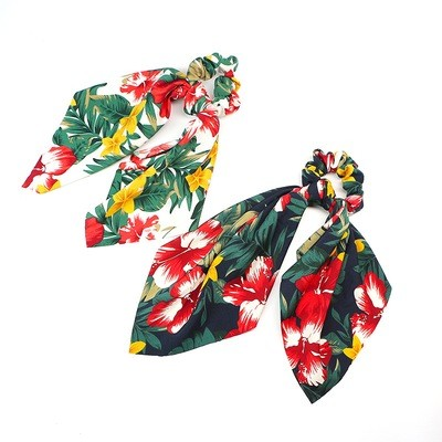 Forest floral chiffon scrunchies with scarf