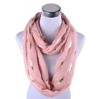 Gold stamp feathers infinity scarf