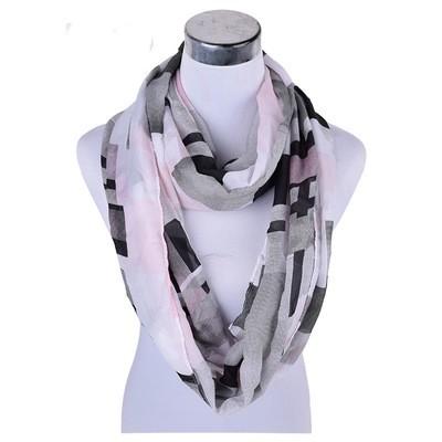 Black pink checks cashmere chiffon infinity scarf
