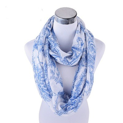 Blue Floral totem infinity scarf