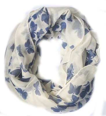 Blue butterfly infinity scarf