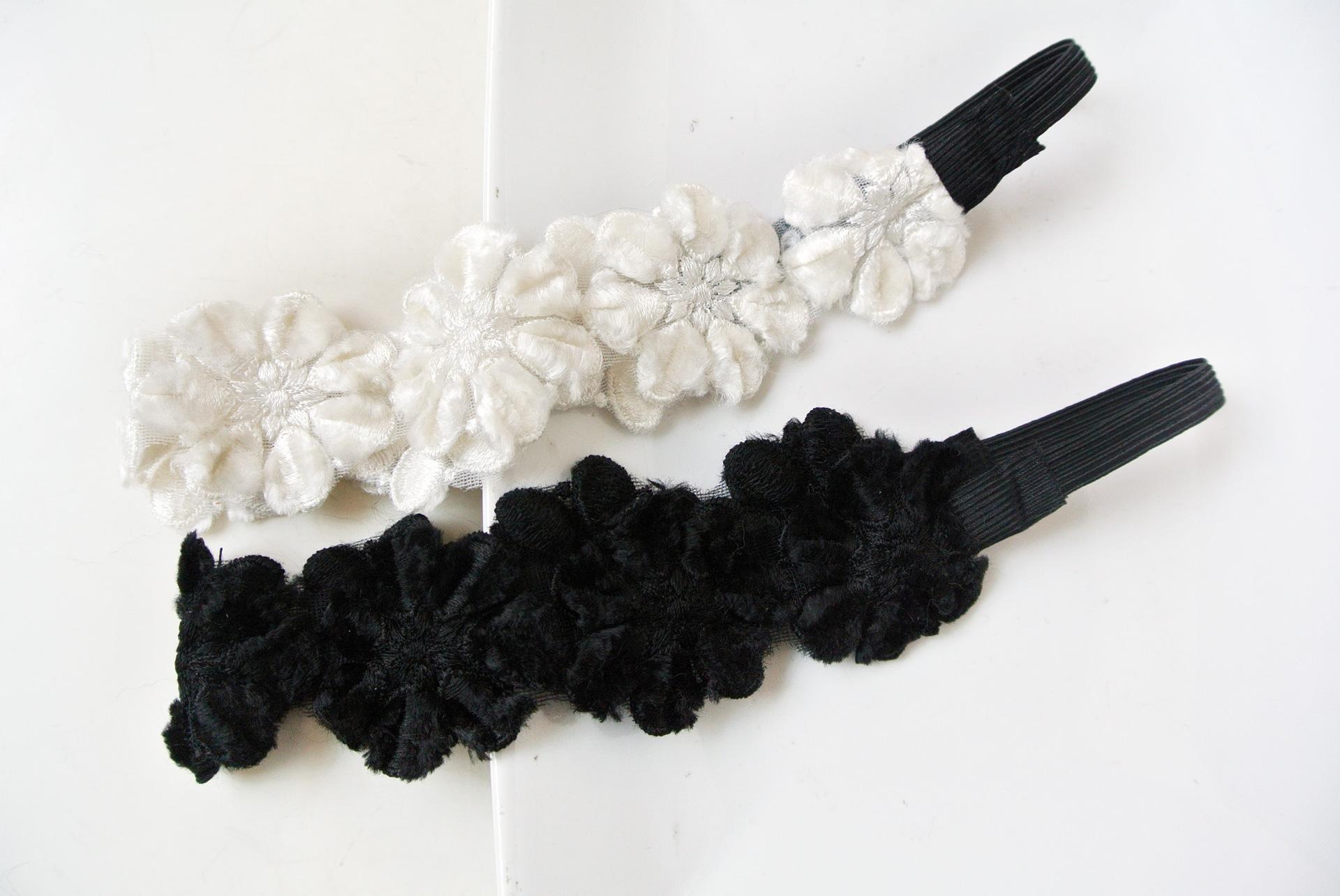 Velvet lace winter flowers elastic headband