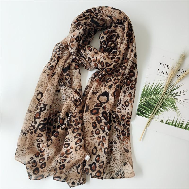 Leopard print long scarf