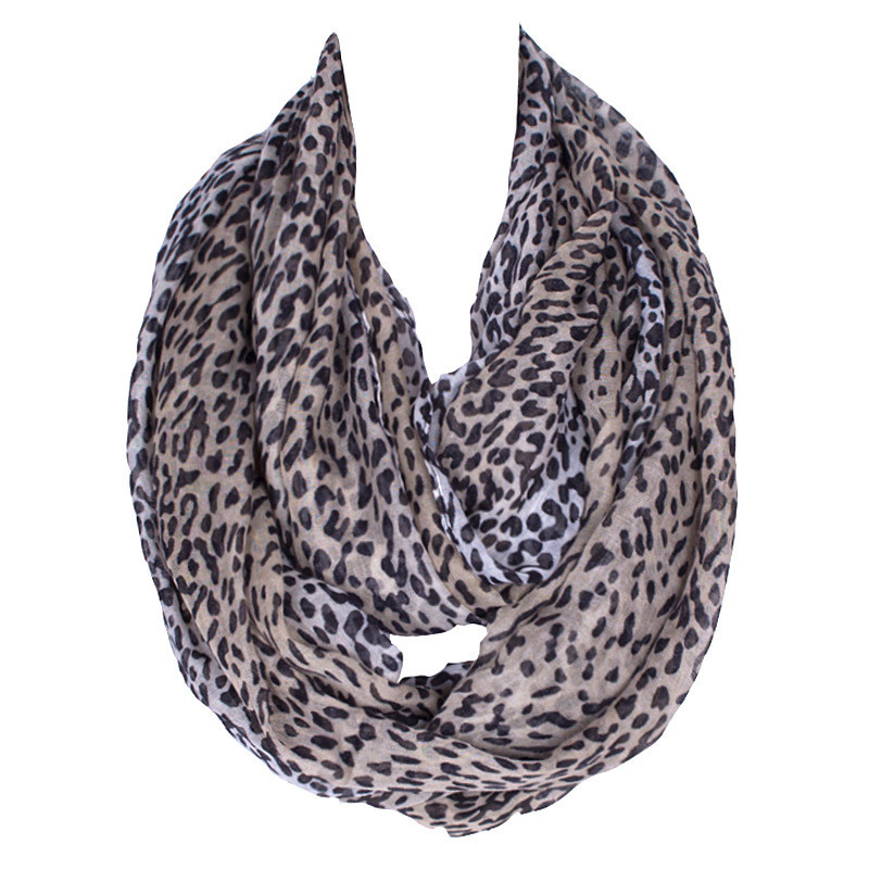 Small leopard prints infinity scarf
