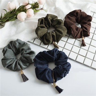 Soft corduroy plain scrunchy with tassel