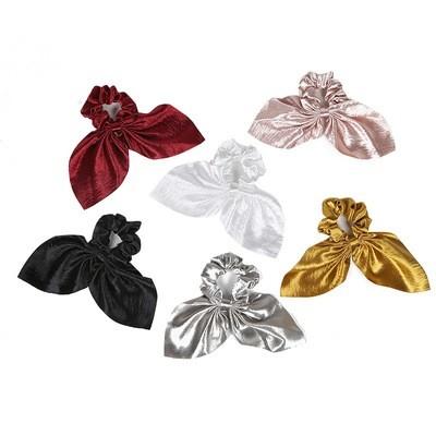 Gloss satin ribbon bow scrunchies