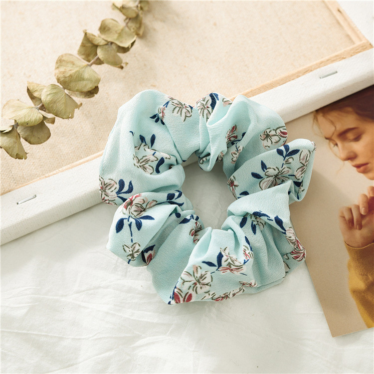 NEW flowers print chiffon scrunchies