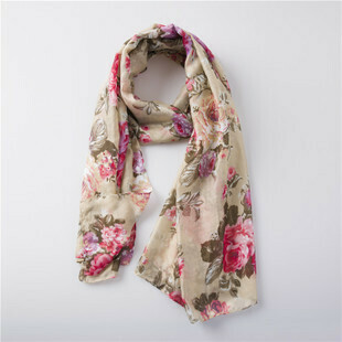 Beautiful flowers long scarf