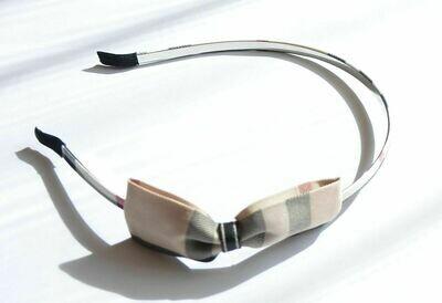 Beige plaid bowknot headband