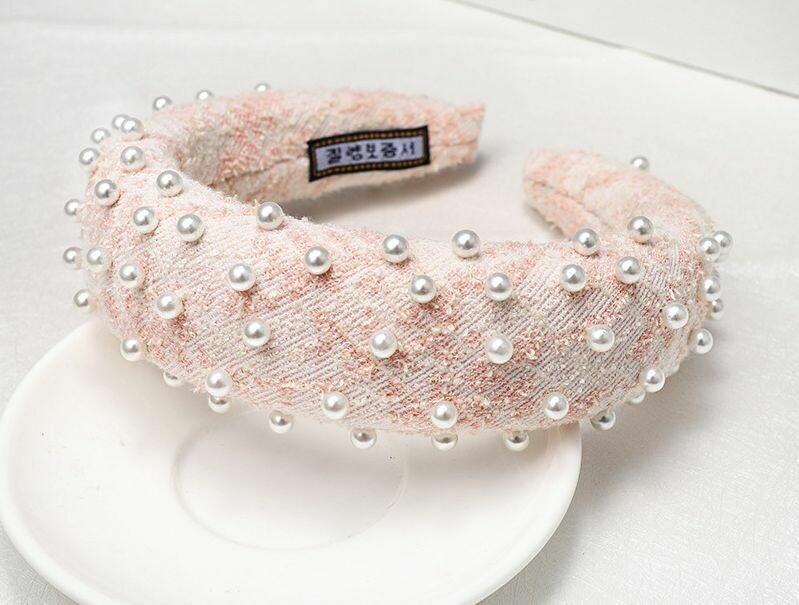 Plaid Tweed padded headband with pearls