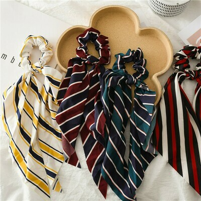 Striped chiffon scrunchies with scarf